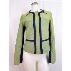 Anne Klein Size 8 Blue Green Blazer Faux Leather